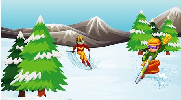 Escena con gente esquiando y practicando snowboard en el campo