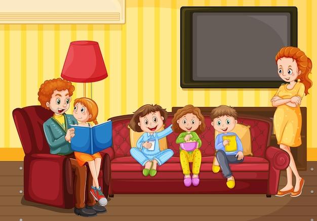 Escena con gente en familia relajándose en casa.