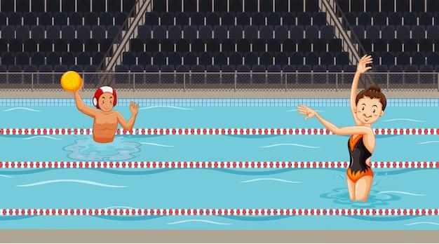 Escena con gente haciendo deporte acuático en la piscina