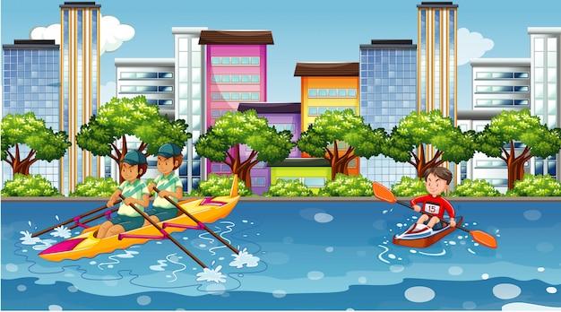 Escena con gente haciendo deportes acuáticos en la ciudad.