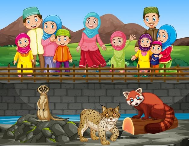Escena con gente mirando animales en el zoológico