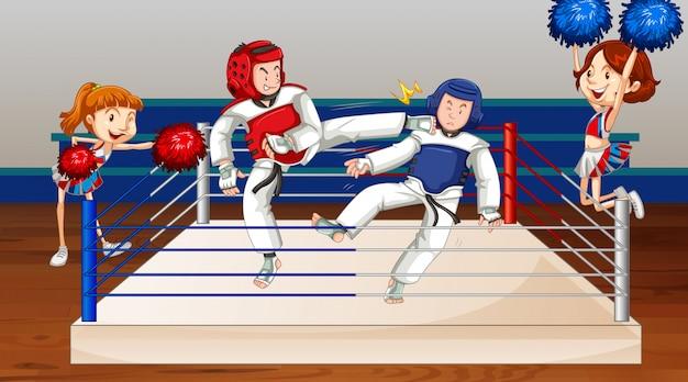 Escena con gente peleando en el ring arena