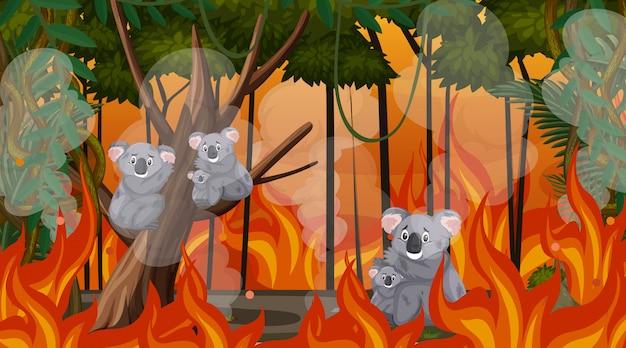 Escena con gran incendio forestal con animales atrapados en el bosque