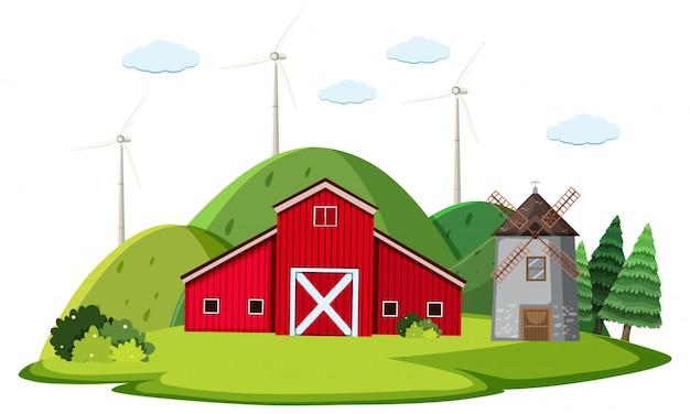 Escena con granero rojo y molino de viento en la granja