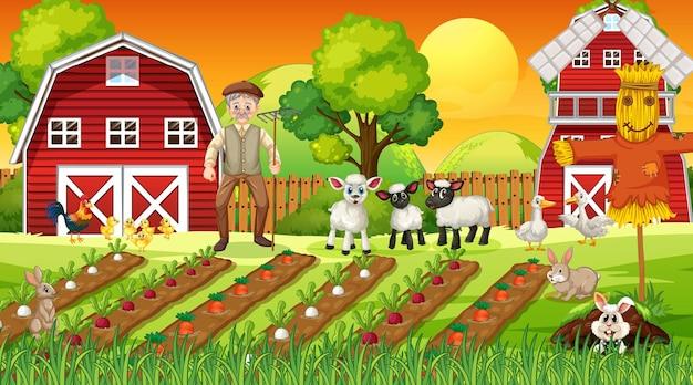 Escena de la granja al atardecer con el viejo granjero y animales lindos