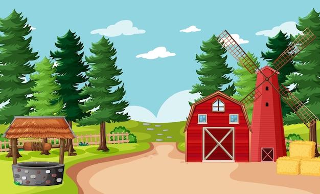Escena de la granja en blanco en estilo de dibujos animados