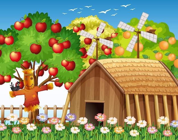 Escena de la granja con casa de campo y gran manzano.