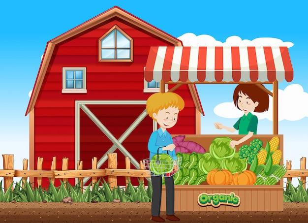 Escena de la granja con el cliente y el vendedor de frutas en la granja