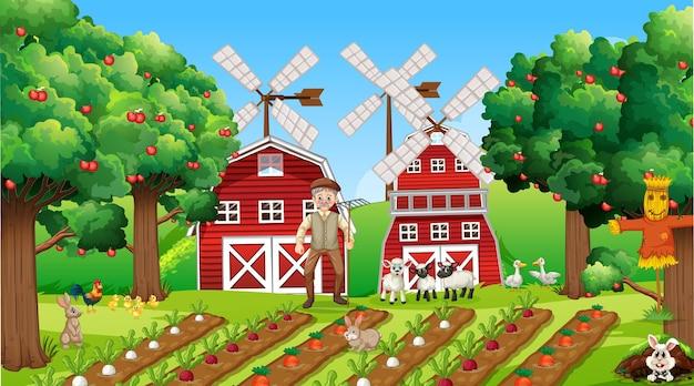 Escena de la granja durante el día con el viejo granjero y animales lindos.