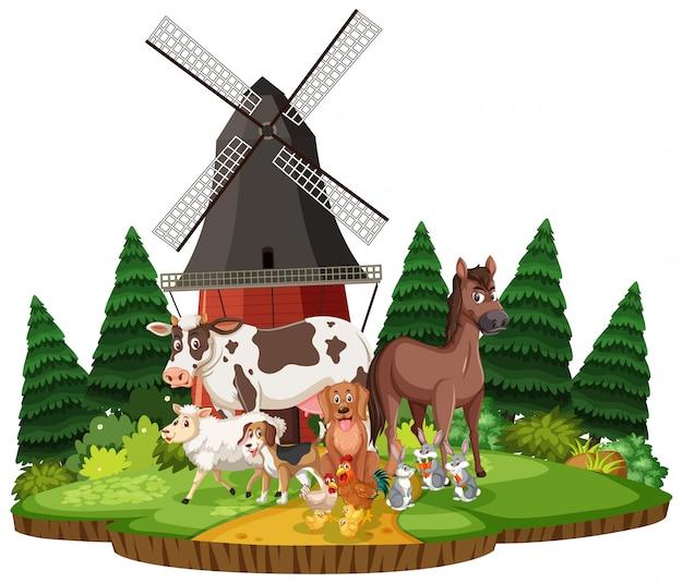 Escena de la granja con diferentes animales en el campo