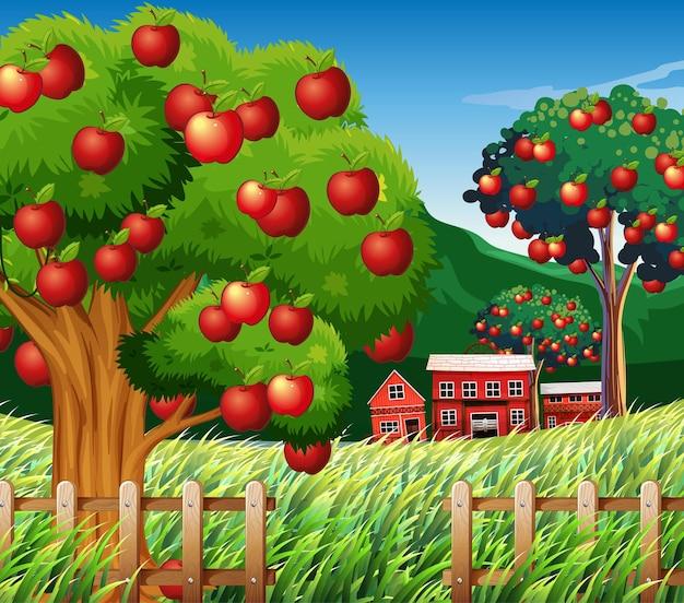Escena de la granja con gran manzano.