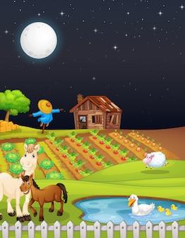 Escena de la granja con granero y caballo en la noche