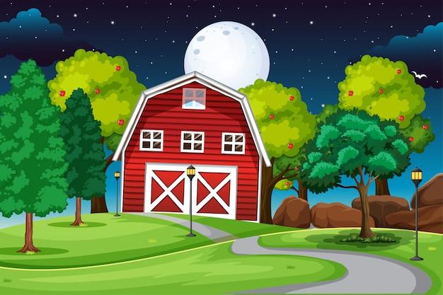 Escena de la granja con granero y largo camino por la noche
