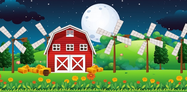 Escena de la granja con granero y molino de viento en la noche
