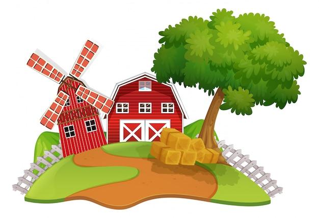 Escena de la granja con granero y molino de viento