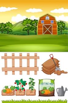 Escena de la granja con granero y otros artículos agrícolas en la granja