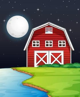 Escena de la granja con granero y río al lado de la noche