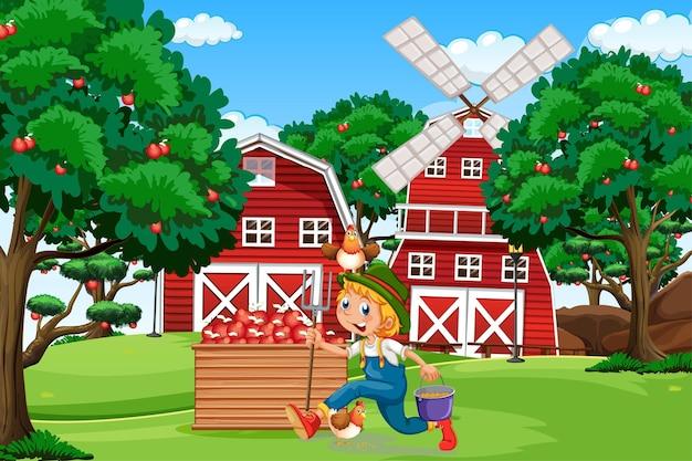 Escena de la granja con granero rojo y ilustración de molino de viento