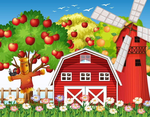 Escena de la granja con granero rojo y molino de viento.