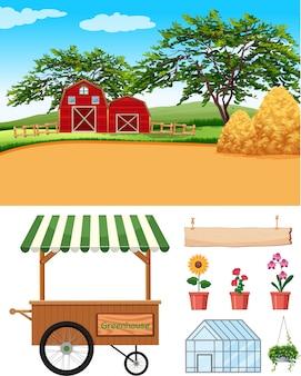 Escena de la granja con graneros y artículos agrícolas en la granja