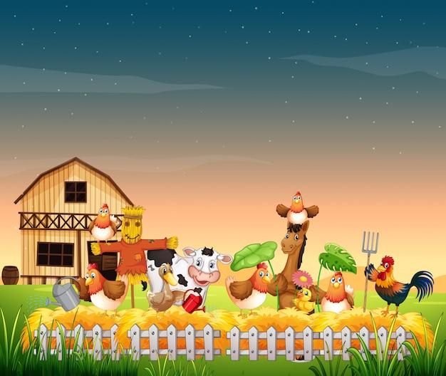 Escena de la granja con granja de animales y cielo en blanco