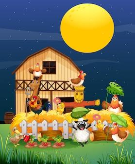 Escena de la granja con granja de animales en el estilo de dibujos animados de noche
