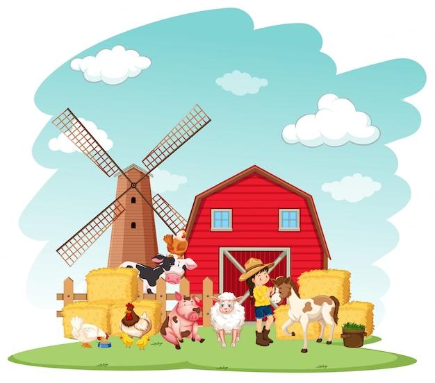 Escena de granja con granjero y animales en la granja