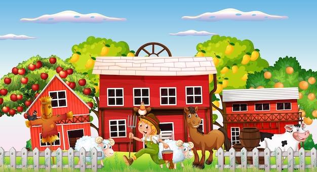 Escena de la granja con granjero y animales de granja.
