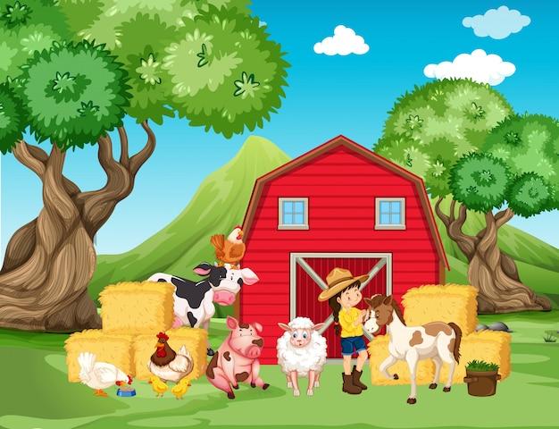 Escena de la granja con granjero y muchos animales en la granja