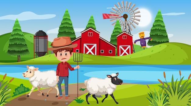 Escena de granja con granjero y ovejas en la colina