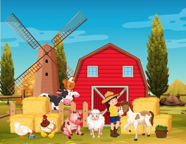 Escena de la granja con molino de viento y animales en la granja