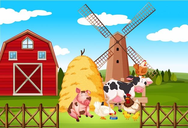 Escena de granja con muchos animales en la granja