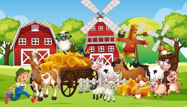 Escena de la granja con muchos animales de granja.