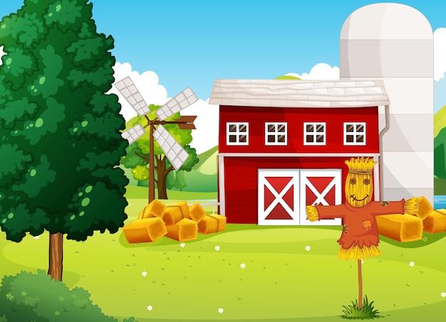 Escena de la granja en la naturaleza con fábrica de granja y espantapájaros.
