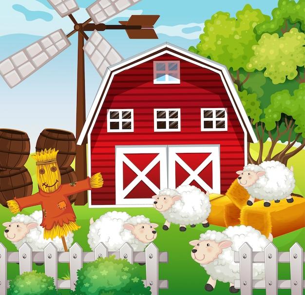 Escena de la granja en la naturaleza con granero y espantapájaros y ovejas