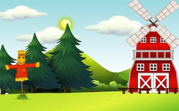 Escena de la granja en la naturaleza con granero y espantapájaros.