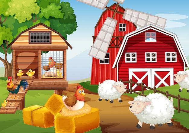Escena de la granja en la naturaleza con granero y molino de viento y granja de animales