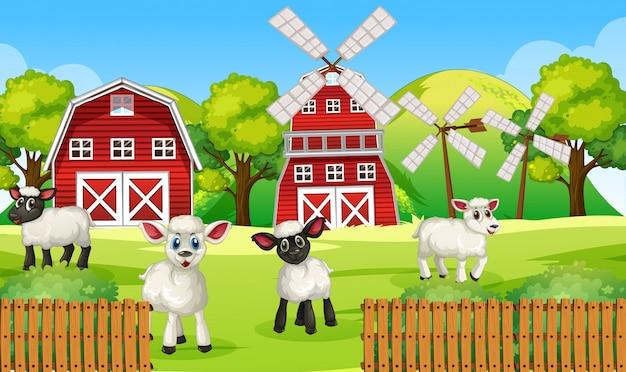 Escena de la granja en la naturaleza con granero y molino de viento y ovejas