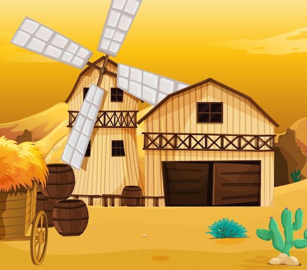 Escena de la granja en la naturaleza con granero y molino de viento.