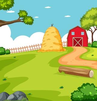 Escena de la granja en la naturaleza con granero y paja.