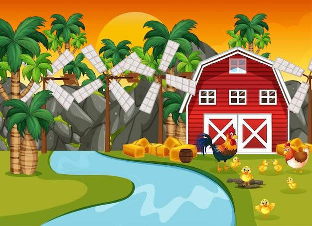 Escena de la granja en la naturaleza con granero y río y pollo