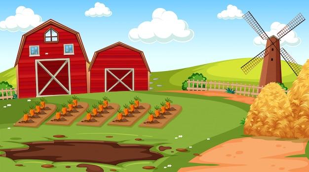 Escena de la granja en la naturaleza con granero