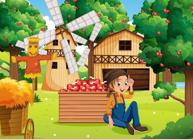Escena de la granja con niña granjera cosecha manzanas