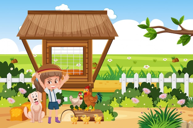 Escena de granja con niña y muchos animales
