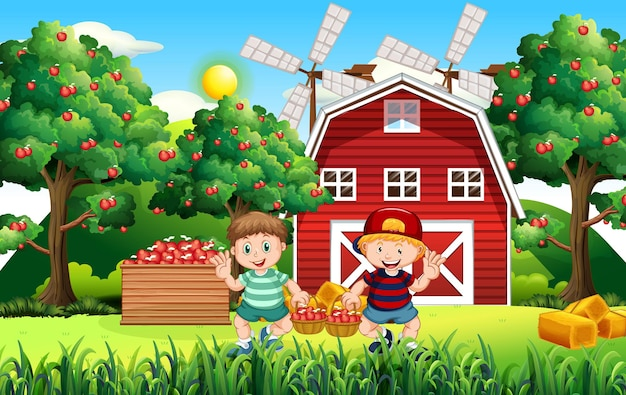 Escena de la granja con niño granjero cosecha manzanas