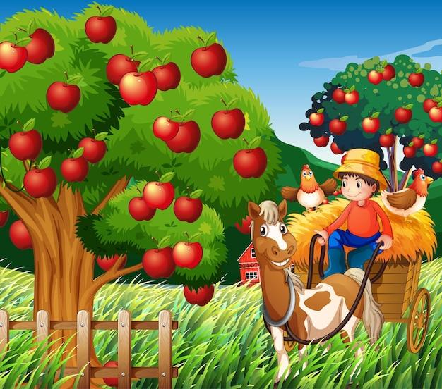 Escena de la granja con niño granjero en vehículo a caballo.