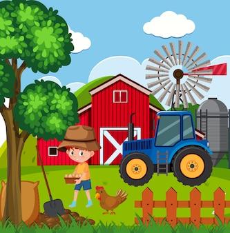 Escena de la granja con niño y huevos frescos en la granja
