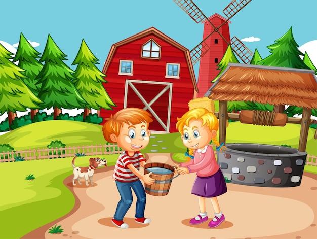 Escena de la granja con niños sosteniendo un balde lleno de agua.