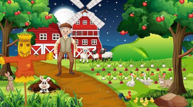 Escena de la granja por la noche con el viejo granjero y animales lindos.