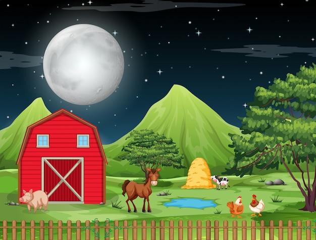 Escena de la granja en la noche
